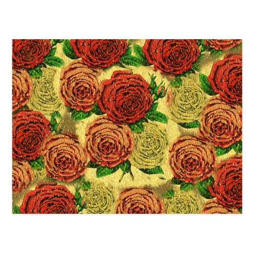 Vintage Pretty Chic Red Rose Wallpaper Collage Postcard