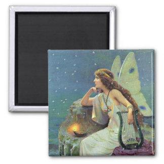Vintage Pretty Fairy Fae Harp Candle Ocean Magnet