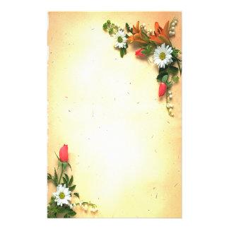 Vintage Pretty Floral Parchment Design Stationery