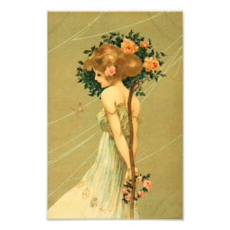 Vintage Pretty Girl With Pink Roses and Butterfly Photo Print