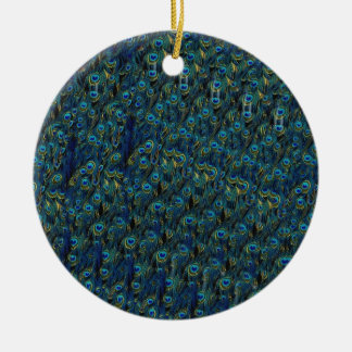Vintage Pretty Peacock Bird Feathers Wallpaper Christmas Ornament