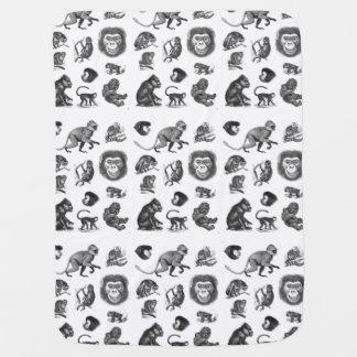 Vintage Primate Illustration Swaddle Blanket