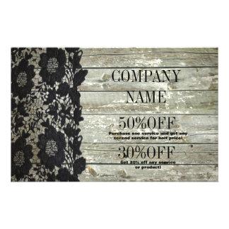 vintage primitive rustic western barn wood lace 14 cm x 21.5 cm flyer
