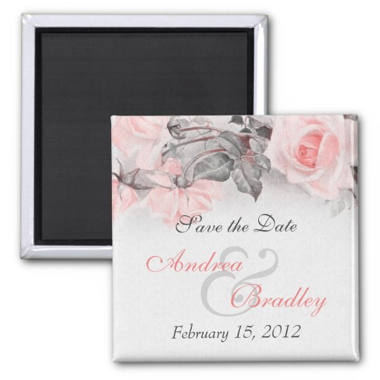 Vintage Primrose Pink Rose Wedding Magnet