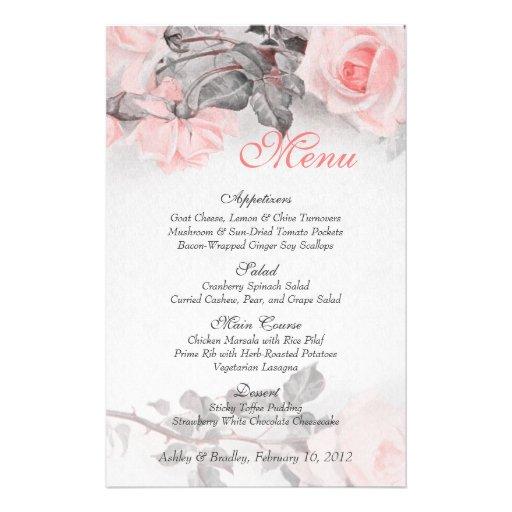 Vintage Primrose Pink Rose Wedding Menu Card Flyer Design