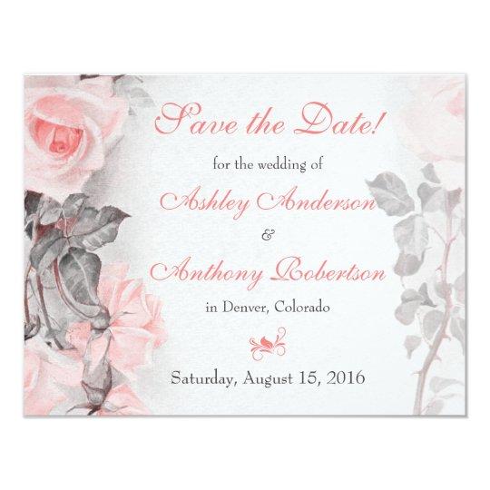 Vintage Primrose Pink Roses Wedding Save the Date Card