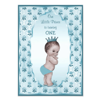 Vintage Prince Boy and Blue Roses 1st Birthday 13 Cm X 18 Cm Invitation Card