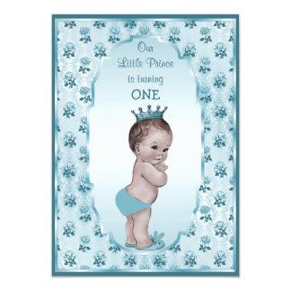 Vintage Prince Boy and Blue Roses 1st Birthday 13 Cm X 18 Cm Invitation Card