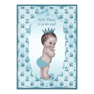 Vintage Prince Boy and Blue Roses Baby Shower Card