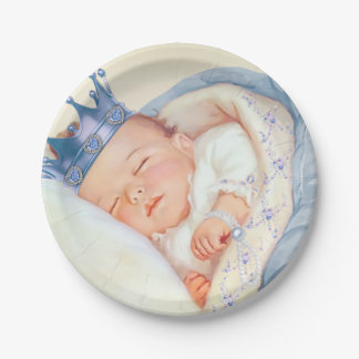 Vintage Prince Boy Baby Shower 7 Inch Paper Plate