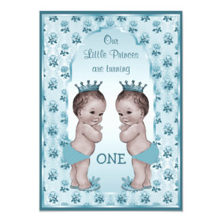 Vintage Prince Boy Twins Blue Roses 1st Birthday Card