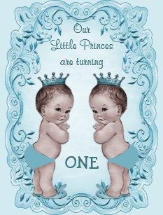 Prince 1st birthday invitations announcements zazzle vintage prince boy twins ornate blue 1st birthday invitation filmwisefo