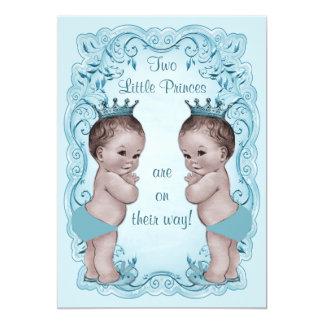 Vintage Princes Boy Twins Ornate Blue Baby Shower Card
