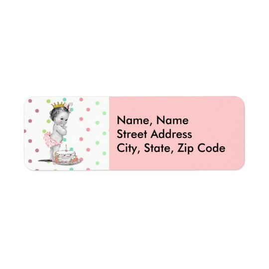 Vintage Princess Baby Birthday Address Label