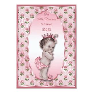 Vintage Princess Baby Girl and Pink Roses Birthday 13 Cm X 18 Cm Invitation Card