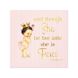 Vintage Princess Baby Gold Crown Fierce Quote Canvas Print