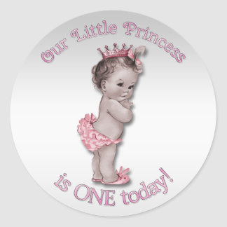 Vintage Princess Baby One Year Birthday Classic Round Sticker