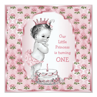 Vintage Princess Baby Pink Roses 1st Birthday Cake 13 Cm X 13 Cm Square Invitation Card