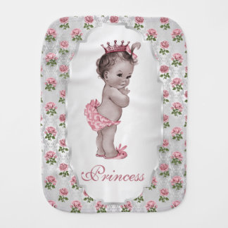 Vintage Princess Baby Pink Roses Silver Frame Burp Cloth