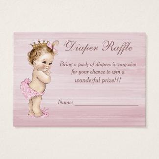 Vintage Princess Baby Shower Diaper Raffle Business Card