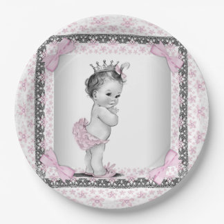 Vintage Princess Baby Shower 9 Inch Paper Plate