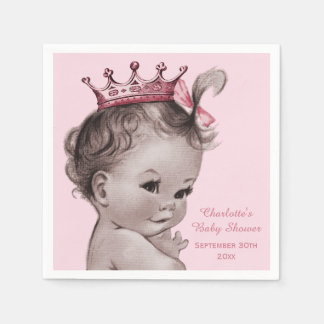 Vintage Princess Baby Shower Personalized Paper Napkin