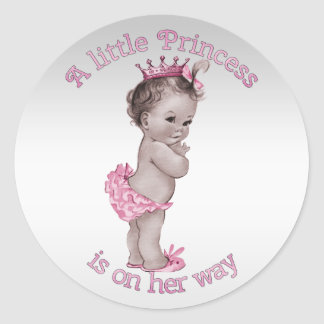 Vintage Princess Baby Shower Round Sticker