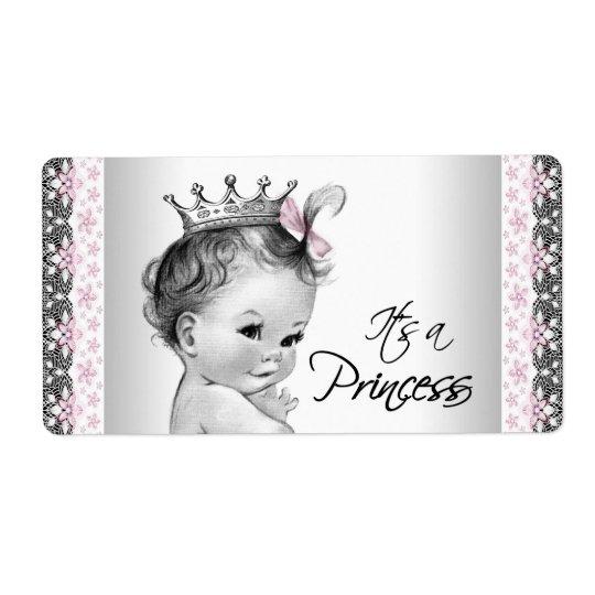 Vintage Princess Baby Shower Water Bottle Labels