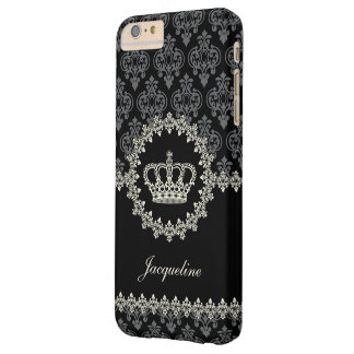 Vintage Princess Damask Crown Barely There iPhone 6 Plus Case