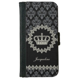 Vintage Princess Damask Crown iPhone 6 Wallet Case