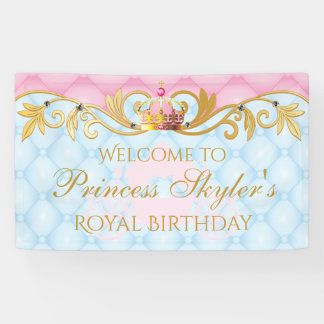 Vintage Princess, Gold and Pink Birthday Banner