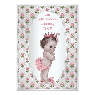 Vintage Princess Pink Roses Silver Baby Birthday 13 Cm X 18 Cm Invitation Card