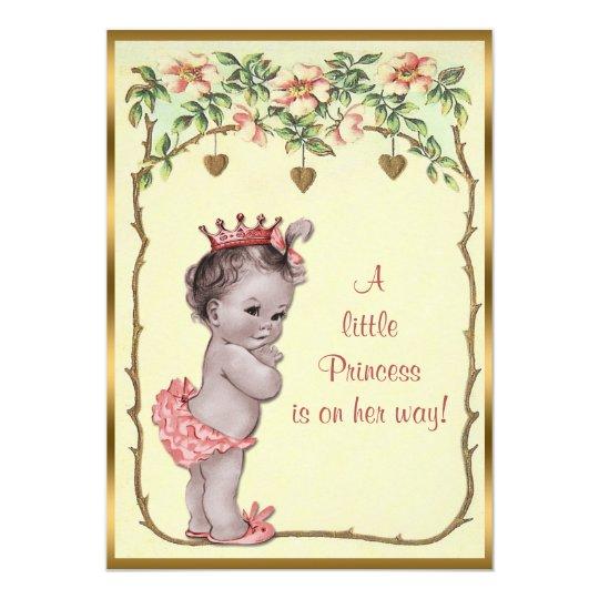 Vintage Princess Roses & Hearts Baby Shower Card