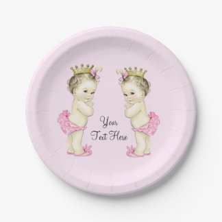 Vintage Princess Twin Baby Girl Paper Plate