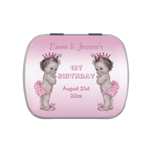 Vintage Princess Twins 1st Birthday Party Favor Jelly Belly Tin