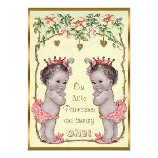 Vintage Princess Twins Birthday Roses & Hearts 13 Cm X 18 Cm Invitation Card