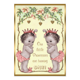 Vintage Princess Twins Birthday Roses & Hearts Card