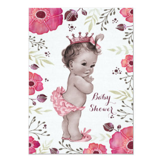 Vintage Princess Watercolor Poppies Baby Shower 13 Cm X 18 Cm Invitation Card