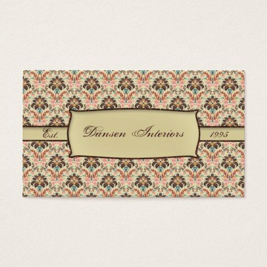 Vintage Print Damask Business Card