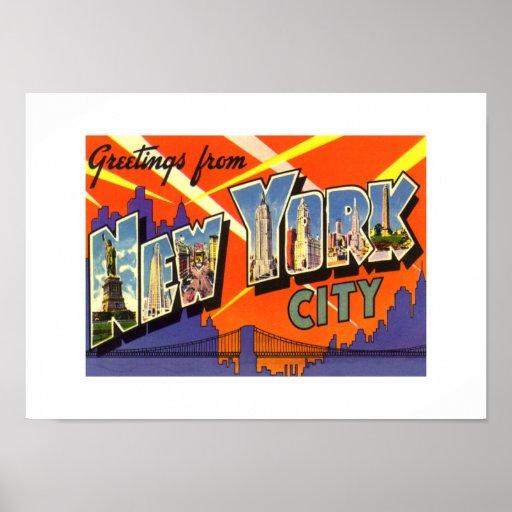 Vintage Print Greetings New York City Poster