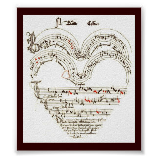 Vintage Print , Medievil music in heart shape
