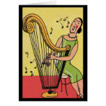 Vintage Print of Woman Playing Harp Stationery Note Card