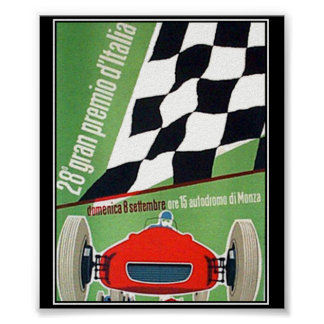 vintage Print Poster Car Race Italy Monza Print