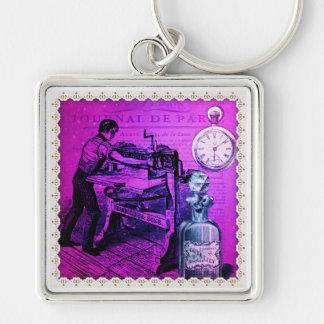 Vintage printer Silver-Colored square key ring