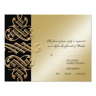 Vintage Printers Ornament Swirl RSVP Response Card 11 Cm X 14 Cm Invitation Card