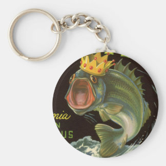 Vintage Product Can Label Art, Kingfish Asparagus Basic Round Button Key Ring