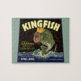 Vintage Product Can Label Art, Kingfish Asparagus Jigsaw Puzzle