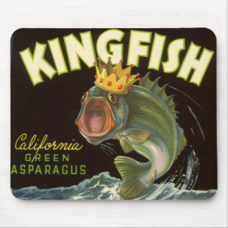 Vintage Product Can Label Art, Kingfish Asparagus Mouse Pad