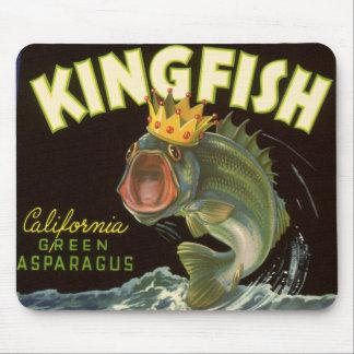 Vintage Product Can Label Art, Kingfish Asparagus Mousepads