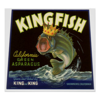 Vintage Product Can Label Art, Kingfish Asparagus Poster